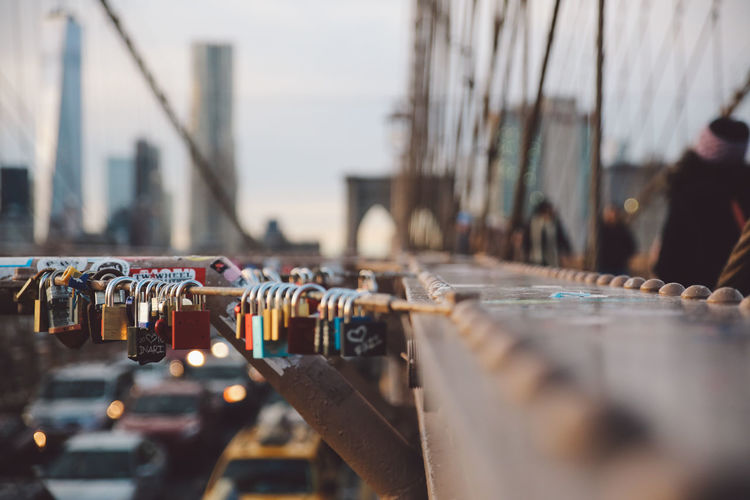 Architecture Bridge Brooklyn Bridge  Brooklyn Bridge / New York City Locks Locks Of Love New York New York City Road Sunset #urbanana: The Urban Playground
