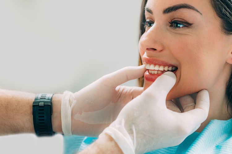 Dentist With Female Patient Dentist Dental Medicine Dentistry Clinic Portrait Teeth Close Up Smile Beautiful Aesthetics Esthethic Cosmetic Healtcare Medical Patient Professional Health Care Female White Office Caucasian Visit Stomatology