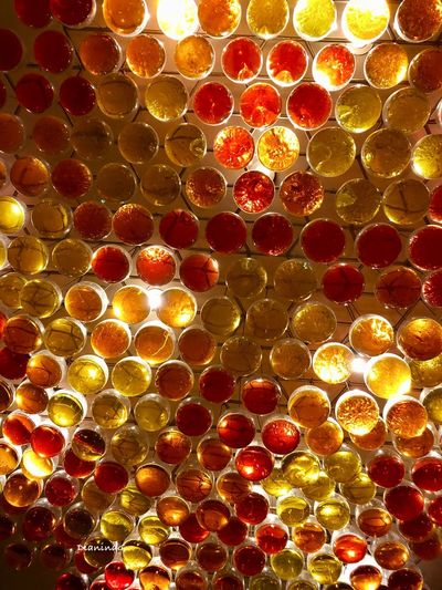 Matices Backgrounds Full Frame Close-up No People Pattern Geometric Shape Red Multi Colored Indoors  Design Abstract Glass - Material Circle Yellow