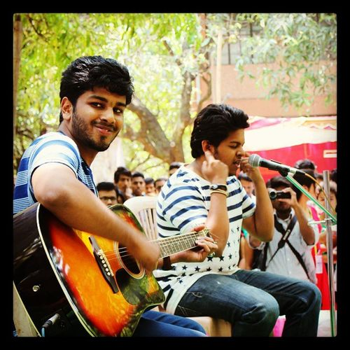 There are certain perks of accompaning:-P Posing Guitar Aura 2K15 Solosinging Phirleaayadil