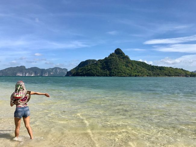 View of Snake Island in El Nido, Palawan, Philippines Sea Water Beauty In Nature Nature Beach Sky Scenics Leisure Activity Real People One Person Woman Outdoors Island Tranquil Scene Tranquility Shore Cloud - Sky Let's Go. Together. Lost In The Landscape