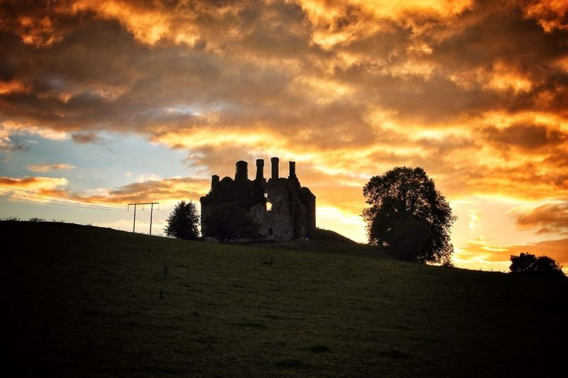 Abandoned Buildings Carbury Castle. Sunset Tadaa Community Cloud And Sky