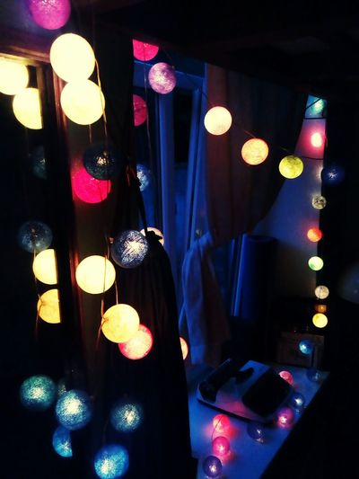 Bulbs Light Writing Machine  Cotton Ball String Light Bulb Cotton Ball String Lights Indoors  Cozy Home Cosy Quiet Evening Evening At Home Illuminated City Multi Colored Hanging Celebration Arts Culture And Entertainment Bauble Electric Light HUAWEI Photo Award: After Dark