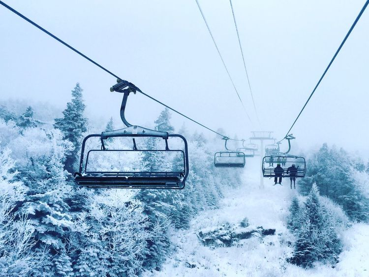 Chairlift up into the heavens. Strattonmountain  Clouds Skiing Skilift Vermont Snow Traveling Home For The Holidays Snow Sports
