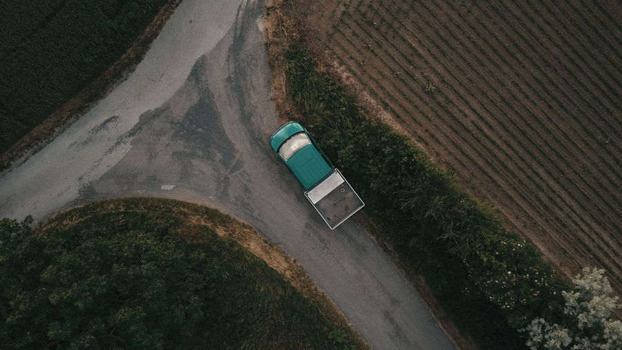 High angle view of truck on road