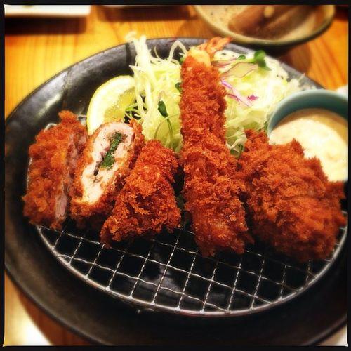 レディース膳(梅しそひれかつ、海老フライ、コロッケ) Food