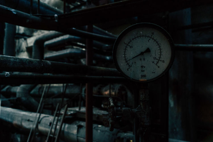 Close-up of gauge at factory
