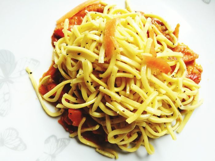 Minced Italian Food Comfort Food Plate Savory Food Cooked High Angle View Pasta Close-up Food And Drink Spaghetti Noodle Soup Serving Dish Noodles