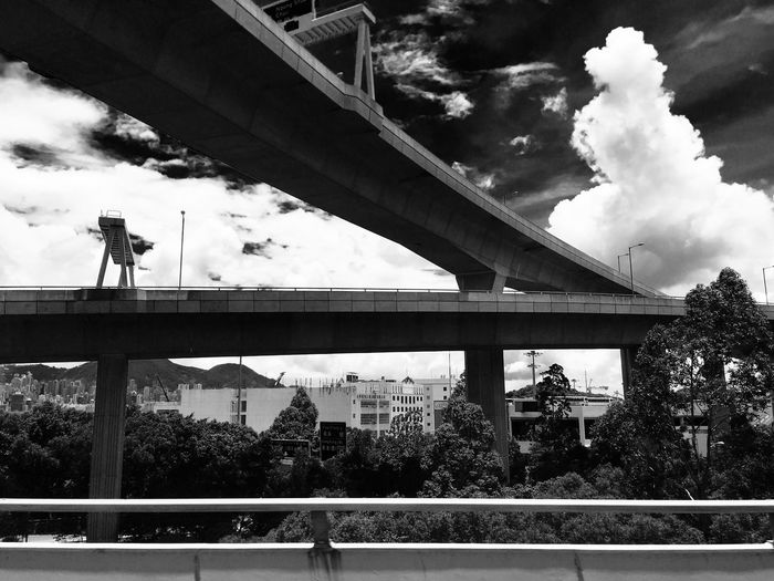 Sunlight, Shades And Shadows Flyover Highway Sky And Clouds Sunlight And Shadow IPhoneography Black And White Photography