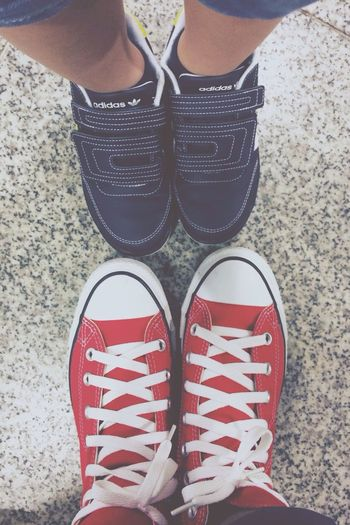 He wanted shots of our cool shoes. Of cos, I insist my red sneakers are cooler. He wants a pair too! Converse 5yo