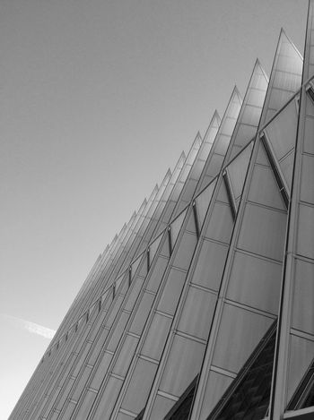 Black And White Friday Architecture Low Angle View Built Structure Building Exterior Modern No People Day Outdoors Sky Clear Sky Skyscraper City