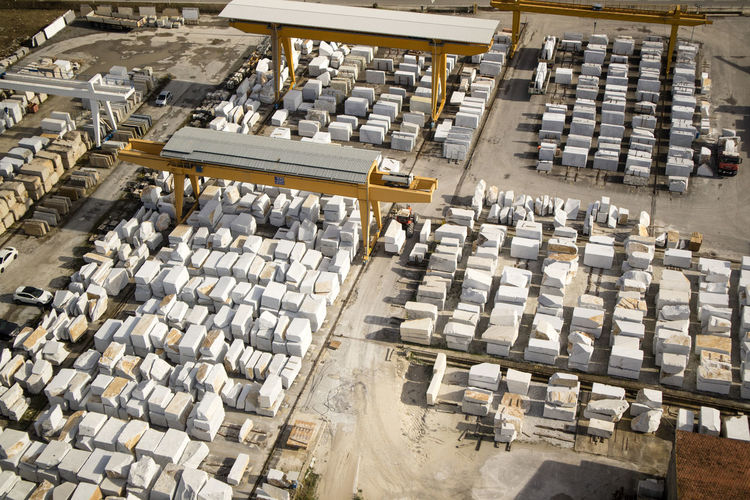 High angle view of machinery at industry