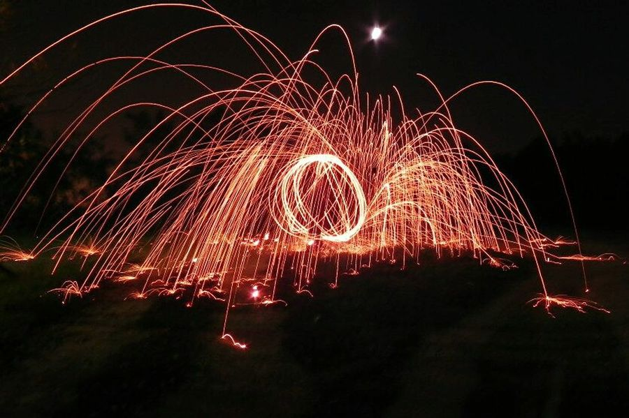 Nightphotography Orange Light Painting Long Exposure Steelwool Night Beautiful Lines Nature Interesting Pictures Fire Firepainting The Great Outdoors - 2016 EyeEm Awards