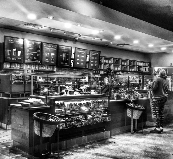 YAWN. Morning Black & White Blackandwhite HDR Hdr_Collection Coffee Morning Good Morning Indoors  Illuminated Business Restaurant Ceiling Architecture