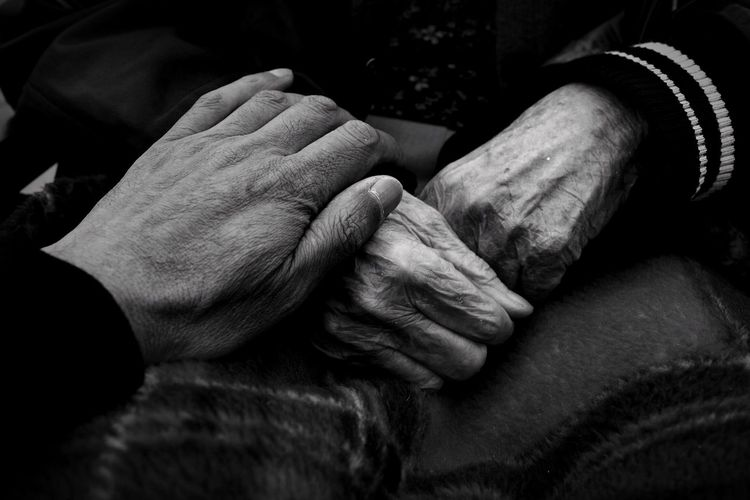 Blackandwhite Two People Human Body Part Human Hand Wrinkled Close-up Indoors  Senior Adult People The Portraitist - 2018 EyeEm Awards The Photojournalist - 2018 EyeEm Awards