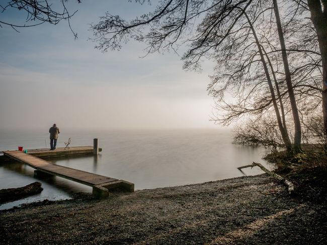 #Fisherman #fog #Lake #pier #reed