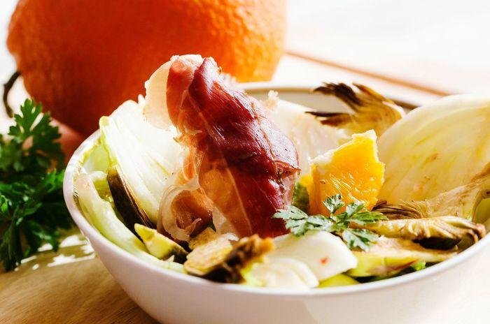 Fresh Salad  Insalata Food Appetizer Orange Artichoke Speck Genuine Cibo Antipasto