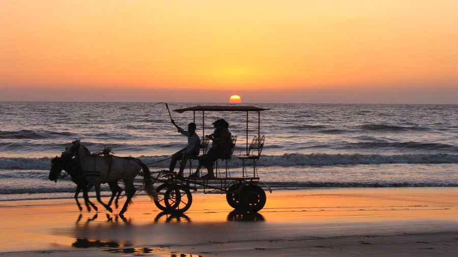 Side view of silhouette horse ride on beach at sunset