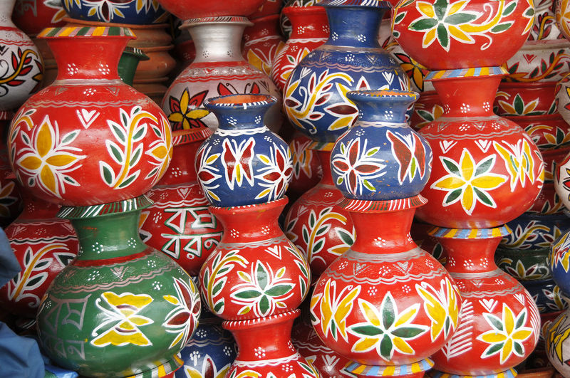 Full frame shot of colorful pots for sale