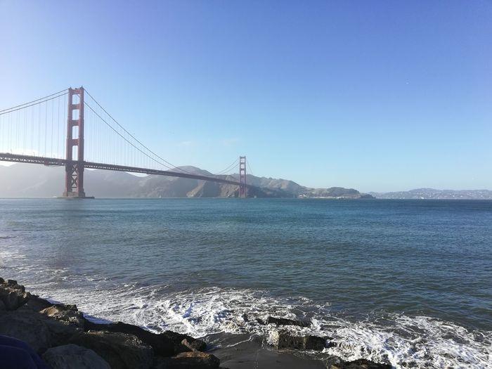 GoldenGateBridge Sea And Sky Seaside City Cityscape Water Urban Skyline Sea Clear Sky Skyscraper Beach Suspension Bridge Bridge - Man Made Structure Bay Of Water San Francisco