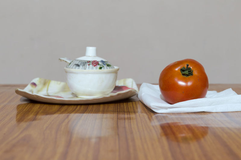Close-up of fruits and vegetables on table