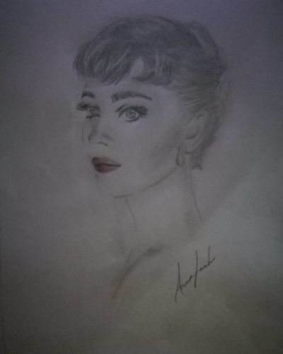 Ritratto Audrey Hepburn Ritratto, Portrait Matitabiancoenero Beautiful Woman