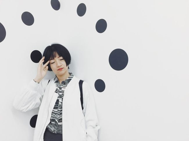 That's Me Relaxing Thinking Portrait Portrait Of A Woman Polkadots Exhibition Yayoi Kusama Dreaming Closed Eyes Quiet Moments Peace And Quiet Calm