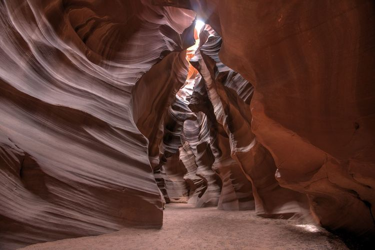 Low angle view of woman in cave