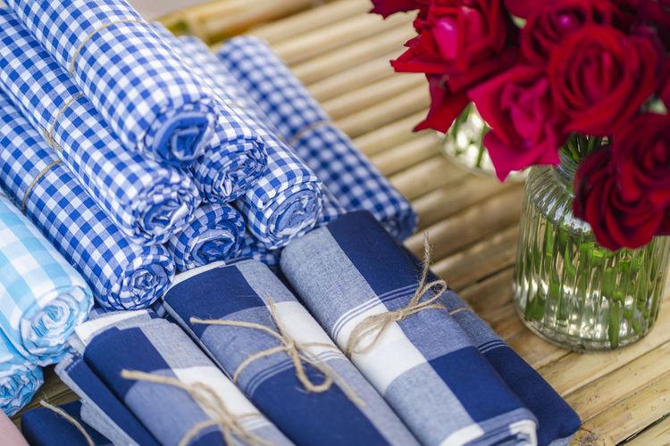 High angle view of napkins on table