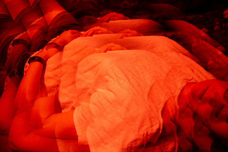 Future Eyes Lens Lomography Prism Prism Art Redscale Red Filter Red Full Frame Orange Color No People Close-up Indoors  High Angle View Backgrounds Textile Pattern Focus On Foreground Day Lying Down Group Still Life Leisure Activity Art And Craft Orange