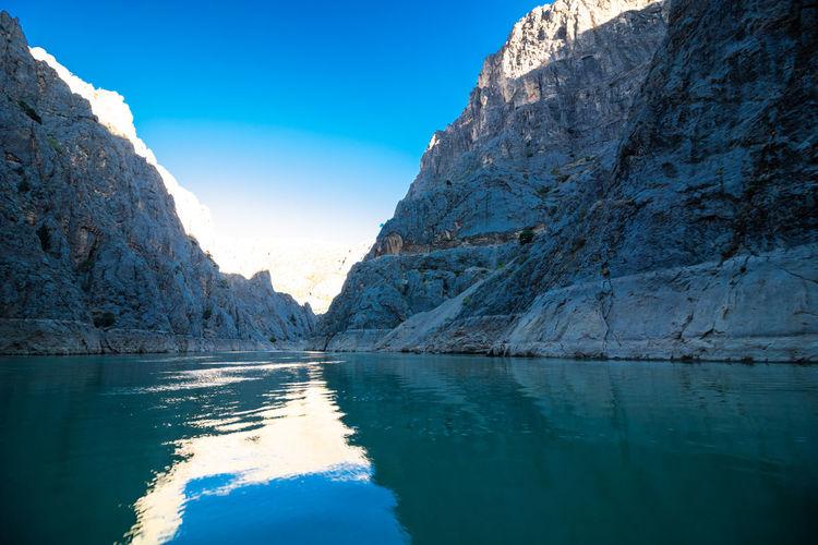 Boat tour in the karanlik canyon in kemaliye erzincan turkey