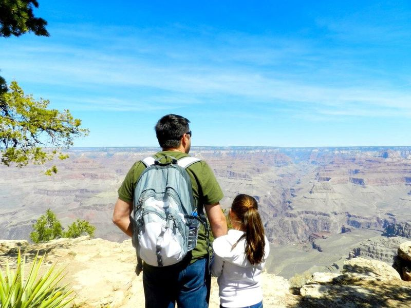 Grand Canyon Hiking Landscape Adventure EyeEmNewHere Outdoors Father And Daughter World View Nature USA