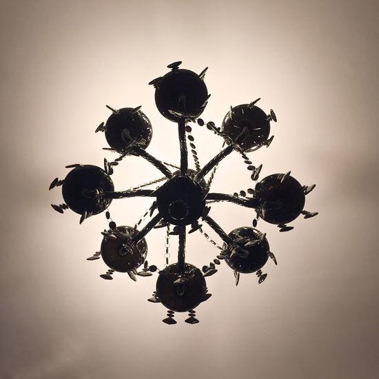 Dark Silhouette Asterisk Black Chandelier Low Angle View Monochrome Shadow Thorns