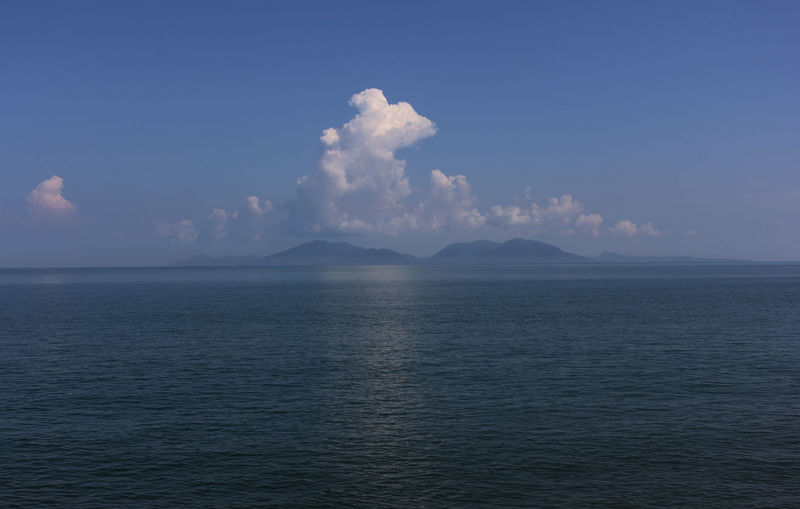 Scenic View of sea against sky above the Sabang Island, Aceh Province, Indonesia. Beauty In Nature Scenics - Nature Tranquil Scene Waterfront Water Tranquility Sky Sea Cloud - Sky Idyllic No People Nature Non-urban Scene Day Outdoors Horizon Blue Horizon Over Water Rippled