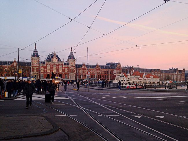 Love for this city. Skyandsand Blusky Street Streetphotography Afternoon Sunset Station Train High Iamsterdam