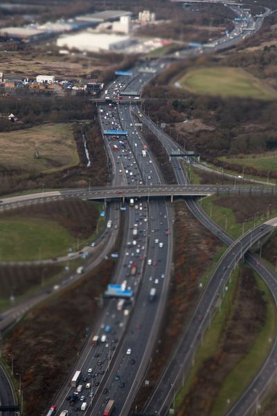 Cars From Above  Roads Traffic Arial View Bridge England Motorway Uk
