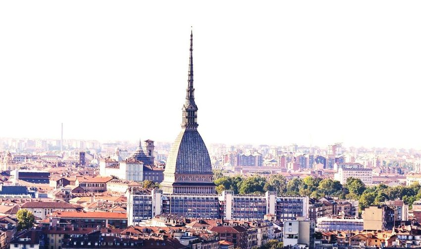 Mole antonelliana amidst cityscape against clear sky