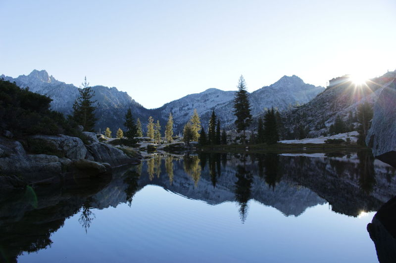 Reflection Water Mountain Tranquil Scene Scenics Tranquility Mountain Range Waterfront Lake Majestic Clear Sky Beauty In Nature Physical Geography Non-urban Scene Nature Tourism Standing Water Blue Geology Travel Destinations Summer Backcountry Roaming Backpacking Addicts Naturephotography