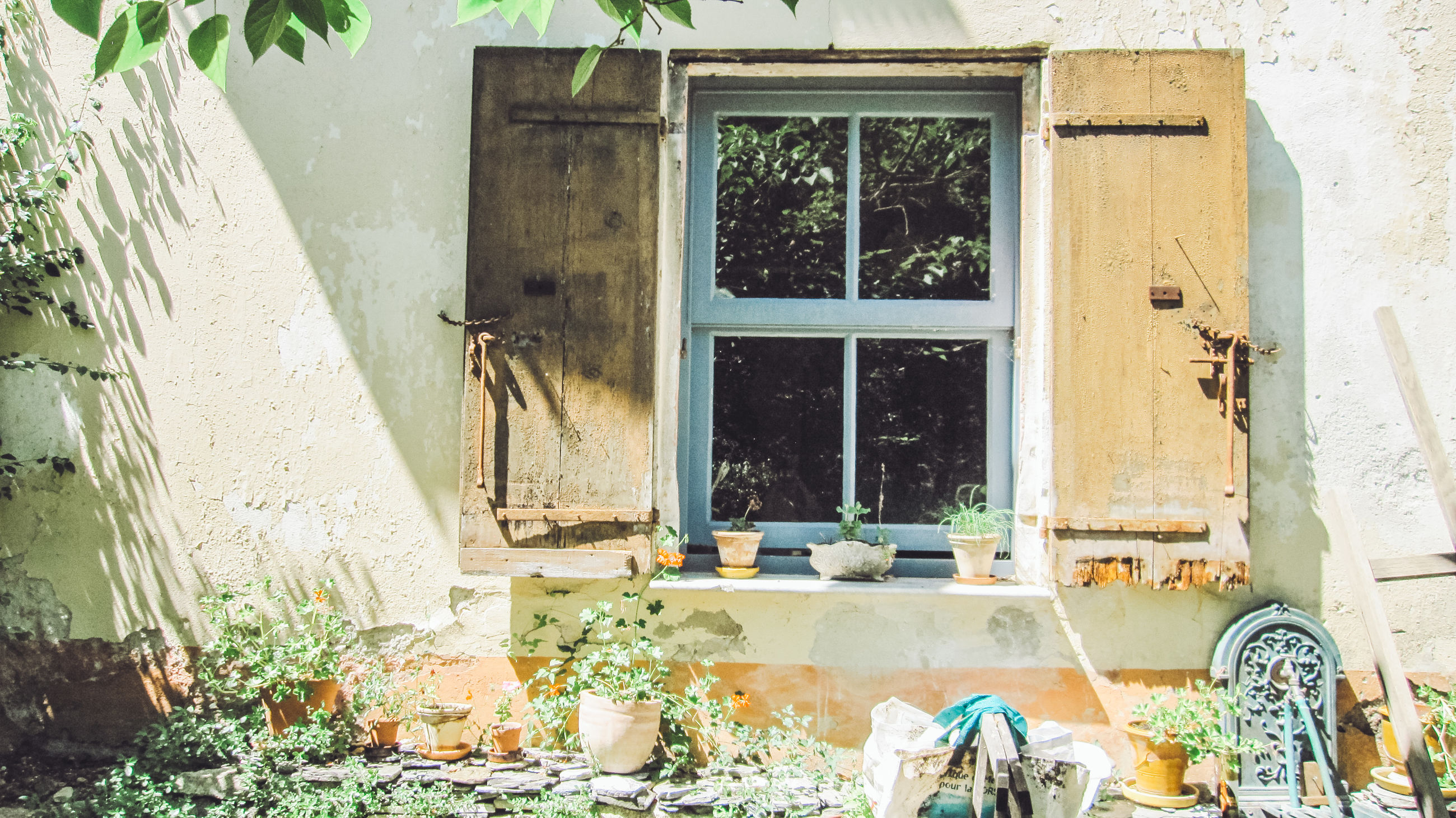 window, building exterior, architecture, built structure, building, day, no people, house, nature, plant, glass - material, transparent, outdoors, potted plant, old, door, entrance, residential district, sunlight, wall - building feature