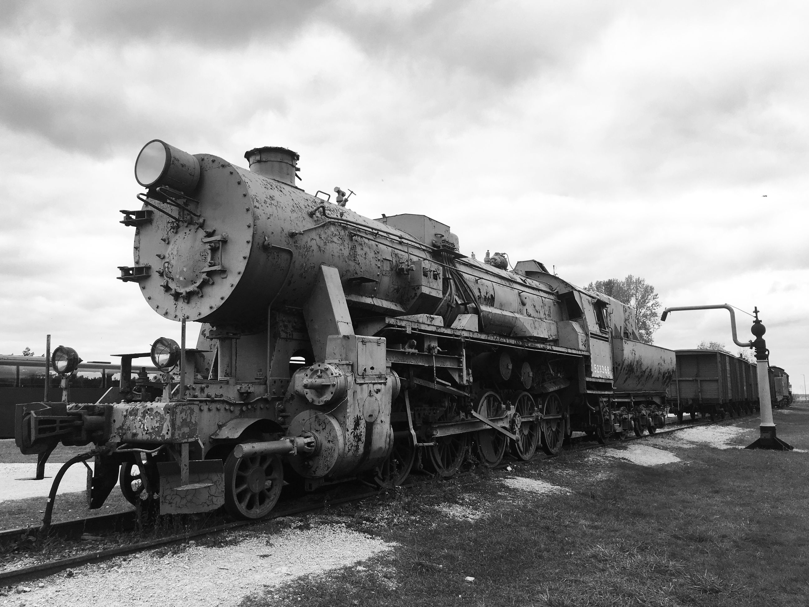 sky, cloud - sky, old-fashioned, rail transportation, mode of transport, outdoors, day, steam train, no people, locomotive, nature
