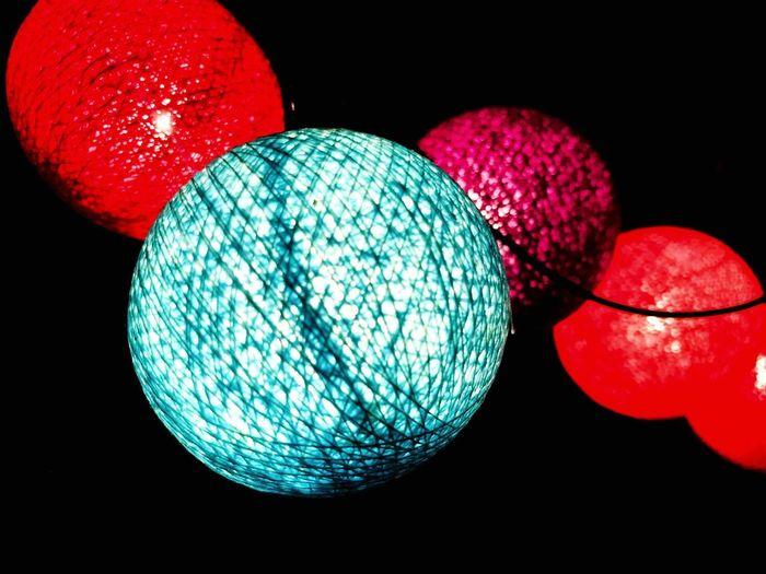 Illuminated Lighting Equipment Red Disco Ball Night Hanging Black Background