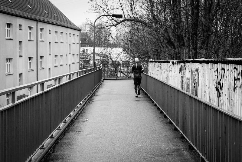 morning jog B&w Photography Black And White Bridge Brücke City City Life Footbridge Geländer Jog Jogger Jogging Lifestyles Men Railing Residential Building Residential Structure Runner Sport Sports Sports Photography Stadtleben The Way Forward Urban Urbanphotography Walking