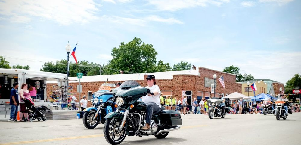 55th Annual National Czech Festival August 5, 2016 Wilber, Nebraska Americana Americans Color Photography Czech Days Czech Festival Event Group Of People Leisure Activity Lifestyles Main Street USA Midday Sunlight Mode Of Transport Modern Woman Motorcycle Club Motorcycles Nebraska On The Streets Outsider In Parade Smal Town USA Stand Out From The Crowd The Way Forward Transportation Wide Angle Wilber, Nebraska