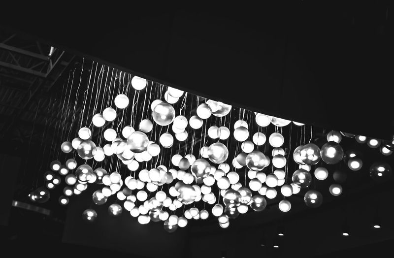 Low Angle View Indoors  Illuminated Hanging Lights Hanginglights Lightballs Blackandwhite No People EyeEmNewHere
