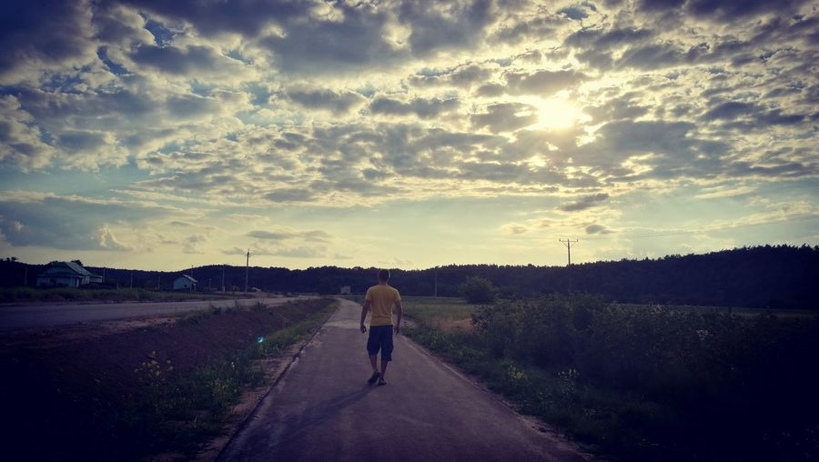 #countrylife #countryside #countryroad #countrysunrise #walking #Sungoesdown Racing Bicycle Road Adventure Rural Scene Empty Road