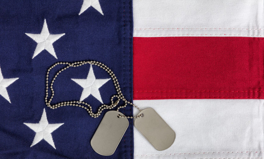 Red, white and blue American flag with ID tags for Memorial Day or Veteran Day backgrounds 4th Of July Government Independence July Labor Day USA United States Blue Constitution Day Defend Dog Tag Flag Fourth Of July Id Take A Bullet For My Family Independence Day Military Patriotism Protect Red Color Tag Us Veteran White Color