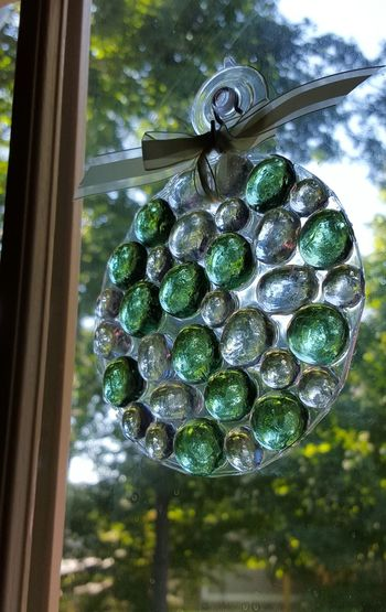 Handmade suncatcher! Beautiful Suncatcher Clear Stones Close-up Cloud - Sky Day Glass Stones Green Stones Hampton, NH Hanging In A Window Indoors  Multicolored Stones No People Round Shiny Sparkly Things Suncatcher In A Window Suncatchers