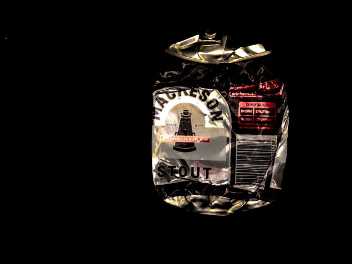 Mackeson Crumpled Food And Drink Aluminium Can Black Background Close-up Connection Copy Space Cut Out Gift Gold Colored High Angle View Indoors  Mackeson Metal No People Open Personal Accessory Silver Colored Single Object Still Life Studio Shot Wealth