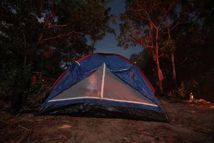 Outdoor camping with firework,stars and moon light