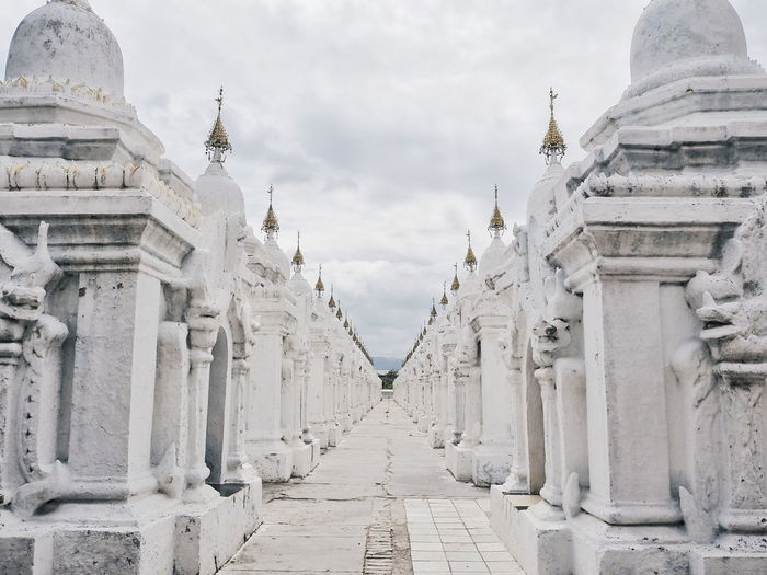 Myanmar Kuthodaw Pagoda Travel Photography Travel Destinations Temple Pagoda Mandalay City Ancient Civilization Beauty Place Of Worship Ancient Religion History Arrival Sky Architecture